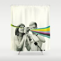 cassia beck Shower Curtains featuring Back to Basics by Cassia Beck