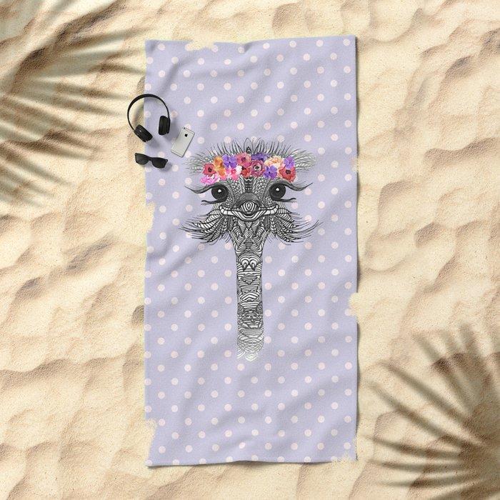 OSTRICH - FLOWER GIRL II Beach Towel