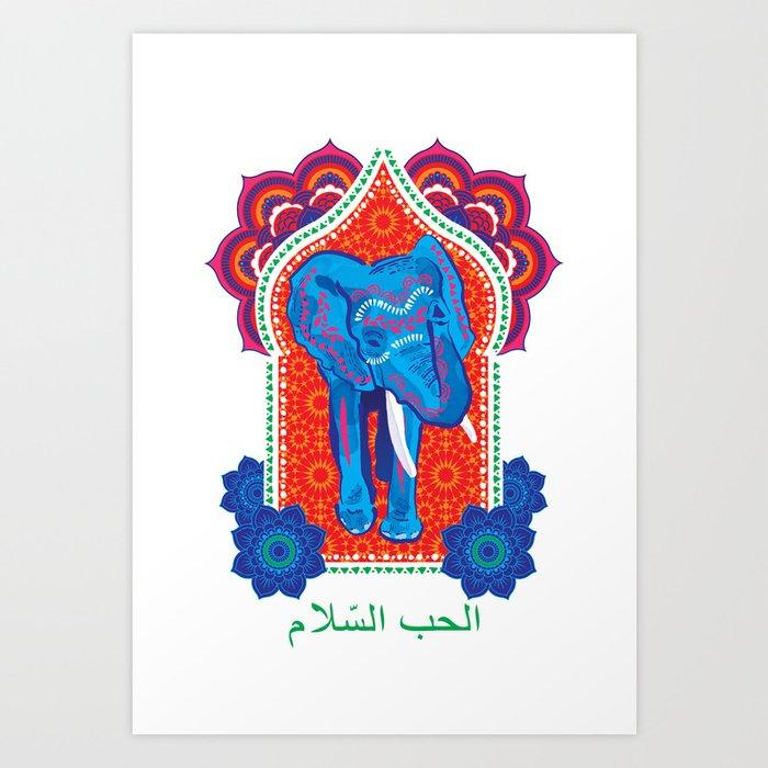 Moroccan Elephant, Peace and Love, elephant print, henna, whimsical ...