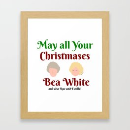 May all your Christmases Bea White Framed Art Print