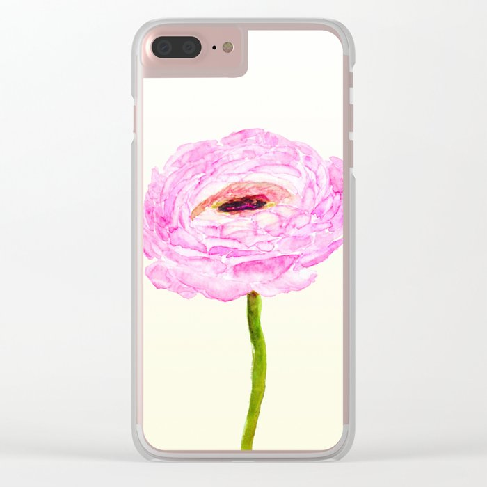pink cultivited buttercup, Ranunculus Clear iPhone Case