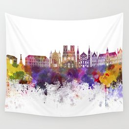 Reims skyline in watercolor background Wall Tapestry