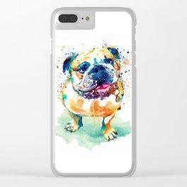 Watercolor Bulldog Clear iPhone Case