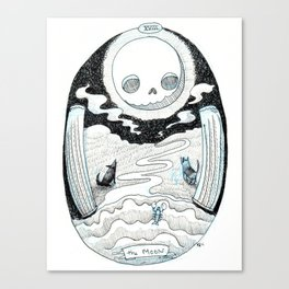 The Moon Skeleton Tarot Canvas Print