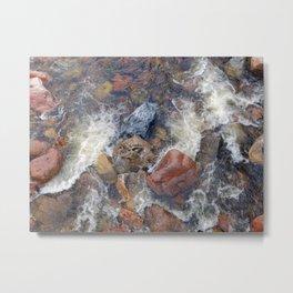 River rocks and rushing water Metal Print