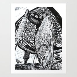"""Catch & Release"" Trout Fly Fishing Art Art Print"