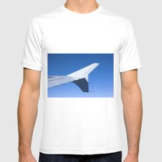 Airplane wing on a blue sky  MEDIUM Mens Fitted Tee White