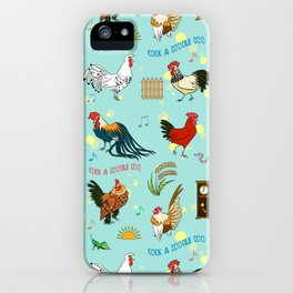 Cute seamless roosters pattern cartoon iPhone Case