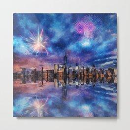 New York Fireworks Metal Print