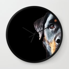 Rottie Love - Rottweiler Art By Sharon Cummings Wall Clock