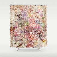 minneapolis Shower Curtains featuring Minneapolis by MapMapMaps.Watercolors