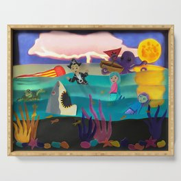 Little Pirate Shipwrecked in Mermaid Land Paper Art Serving Tray