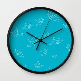 Paper Cranes (Scuba Blue) Wall Clock
