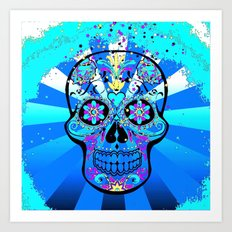 Psychedelic PopArt Skull, blue Art Print