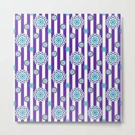Mod Flowers on Purple Stripes with Turquoise Metal Print