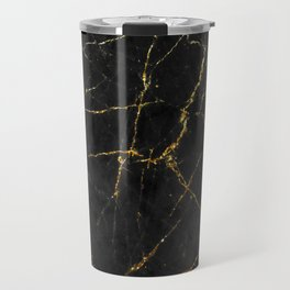 Gold Glitter and Black marble Travel Mug