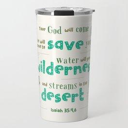 """Streams in the Desert"" Hand-Lettered Bible Verse Travel Mug"