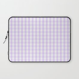 Chalky Pale Lilac Pastel and White Gingham Check Plaid Laptop Sleeve