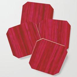 Strawberry Colored Vertical Stripes Coaster