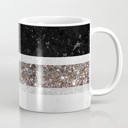 Black and White Marble Silver Glitter Stripe Glam #1 #minimal #decor #art #society6 Coffee Mug