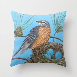 Robin with nest in Georgia pine tree Throw Pillow
