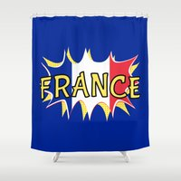 france Shower Curtains featuring France by mailboxdisco