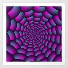 Ball Spiral in Pink Blue and Purple Art Print