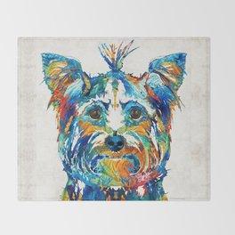 Colorful Yorkie Dog Art - Yorkshire Terrier - By Sharon Cummings Throw Blanket