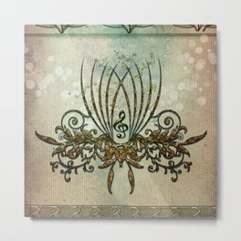 Clef with decorative floral elements Metal Print