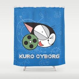 kuro cyborg cat Shower Curtain