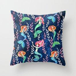 Merry Mermaids in Watercolor Throw Pillow