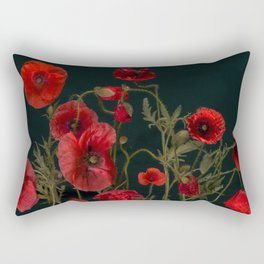 Red Poppies On Black Rectangular Pillow