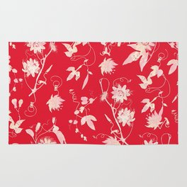 Festive Christmas Bright Red Passion Flowers Rug