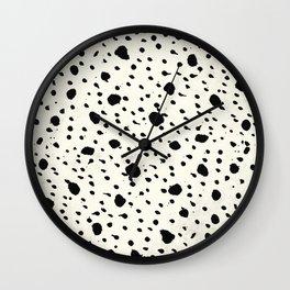 Tribal Dot Black Earth on Ivory Wall Clock