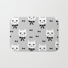 Cute Cats bow ties grey kittens cat art pattern design by andrea lauren Bath Mat