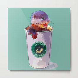 Otter Coffee Metal Print