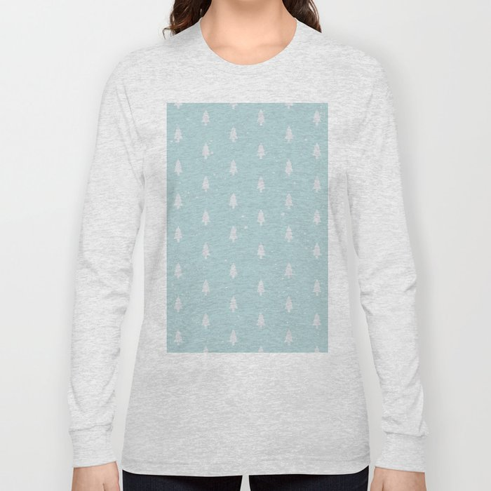 Christmas Trees Pattern Light Blue Long Sleeve T-shirt