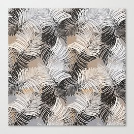 Vintage black white trendy tropical palm trees floral Canvas Print