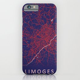 Limoges, France, Blue, White, City, Map iPhone Case