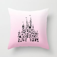 Ombre Pink silhouettes in a castle Throw Pillow