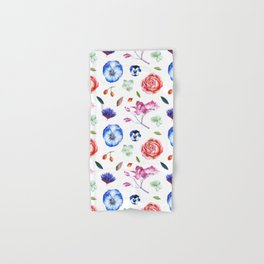 Country bohemian blue pink watercolor roses pansy floral Hand & Bath Towel