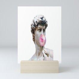 Marble sculpture Art, statue of David blowing pink gum Mini Art Print