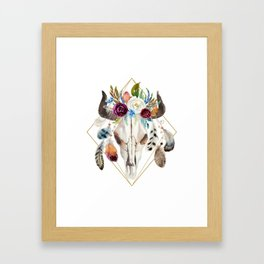 Colorful boho flowers bull skull Framed Art Print