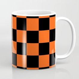 Black and Orange Checkerboard Pattern Coffee Mug