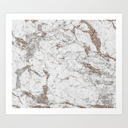 White frost - rose gold marble Art Print