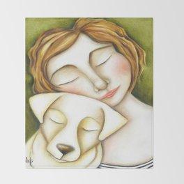 Dog Girl Puppy Love Original Artwork by Deb Harvey Throw Blanket