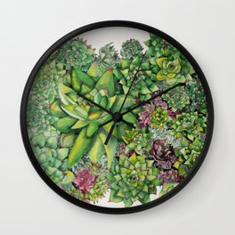 Watercolour Succulents Wall Clock