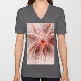 Flower Decoration, Abstract Fractal Art Unisex V-Neck
