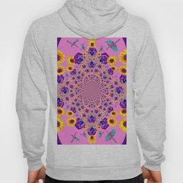 PURPLE MILLEFIORI PANSY YELLOW FLOWERS Hoody