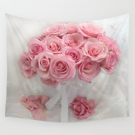 Pink Roses White Roses Shabby Chic Romantic Floral Home Decor Wall Tapestry
